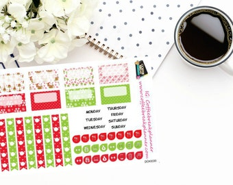 Planner Stickers|Christmas Date Covers and Flags| Fits Doki Discagenda| Personal Planner| Traveler's Notebook| BUJO| DOKI030