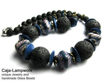 Blue gray, short necklace made of handmade glass beads and lava beads