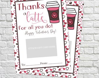 Valentine's Day Gift Card Holder, Thank You Gift Card Holders, Valentine's Day Gift, Valentine Gift Card, Teacher's Gifts, Thanks a latte