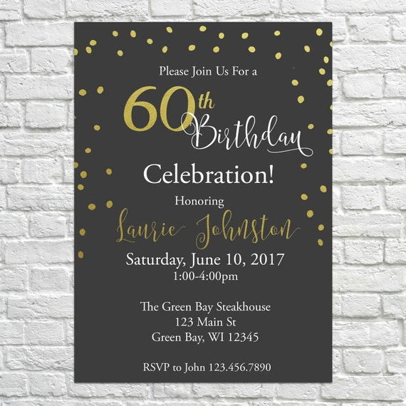 Elegant Birthday Invites 40th 50th 60th Invitations Gold