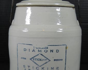 Antique Advertising Crock Stickine Adhesive Diamond Inc Co Milwaukee NY Lidded