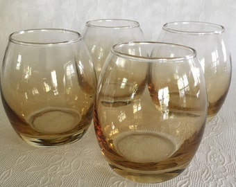 Short round drinking amber vintage drinking glasses Set of 4