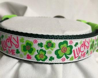 Shamrock St Patrick's Adjustable Dog Collar