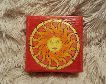 Sun Burst Lined Wooden Box, Hand Burned and Colored