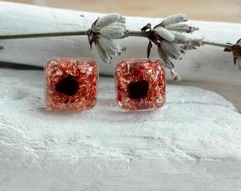 Copper earrings, shungite earrings,square stud earrings,unique stud earrings,resin earrings