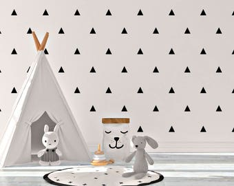 Wall decal Nursery Scandinavian Triangles Stickers Black and White Vinyl