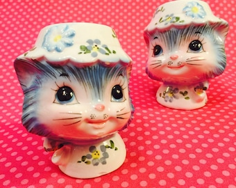 Lefton Anthropomorphic Miss Priss Kitten Salt and Pepper Shaker made in Japan circa 1950s