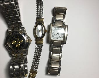 Sale! Price reduced ...3 vintage wrist watches ...1 runs   2 need batteries...Uses: steampunk, crafts, metal  art, jewelry making , etc