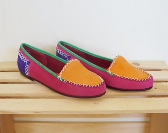 Vintage suede color block loafers // Size EU 37/ US 7.5