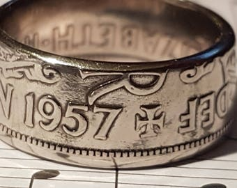Coin Ring Half Crown  - Hand Crafted 1957 - Size U 1/2