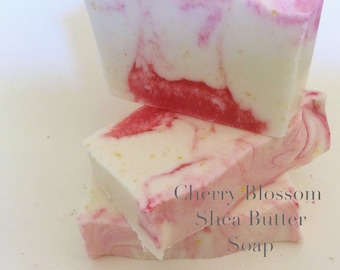Cherry Blossom Shea butter Soap, gift , stocking fillers,Bar soap. Shea butter