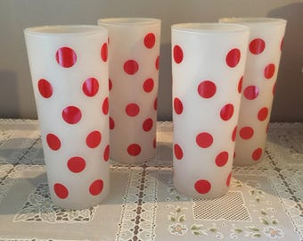 Vintage fire king frosted red polka dot tumblers set of 4