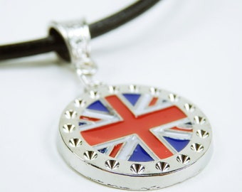Necklace Union Jack - Union flag on black leather strap jewellery London United Kingdom red blue white flag England uk