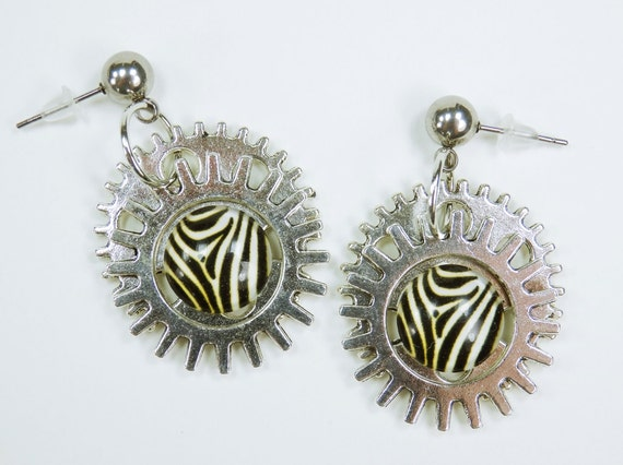 Earrings Zebra steampunk gears on silver studs in stainless steel unique gear pair of earrings vintage mature cream White