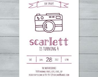 Camera Birthday Party Invitation  |  Camera Invitation  |  Photography Birthday Invite