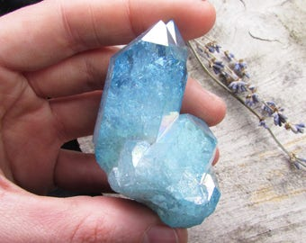 Large aqua aura quartz crystal cluster blue gemstone healing stone alter wicca home pagan gifts pastel goth new age bedroom hippy kawaii gem