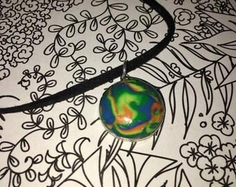 Mokume Gane Polymer Clay Necklace
