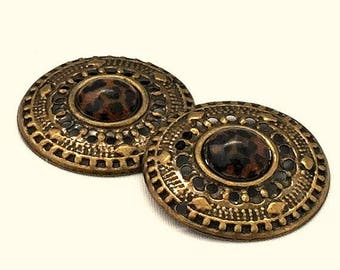 Medallions SET of TWO / Round Medallion / Antique Brass Medallions / Antique Brass Focal / Round Medallions