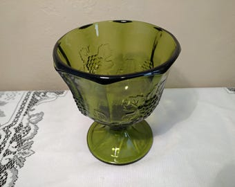 Vintage Indiana Glass Avocado Green Glass Harvest Grape Footed Compote