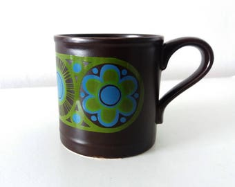 Retro pattern brown and green Staffordshire mug | vintage geometric design, 60s