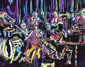 Jazz Art Print, Jazz Band Art, New Orleans painting
