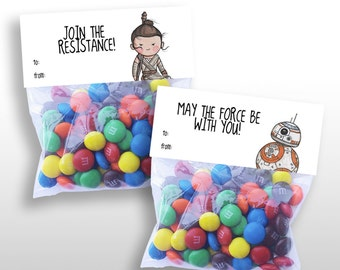 PRINTABLE Rey & BB-8 The Force Awakens Treat Bag Toppers, Party Favor, 6 Toppers/Page, printable .pdf