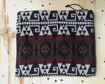 handbag with ethnic fabric