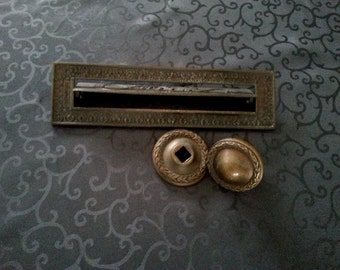 Beautiful vintage ornamentic brass mailbox and matching doorknob