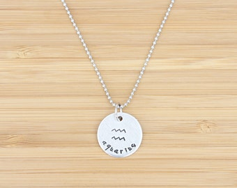 hand stamped charm necklace   zodiac - large