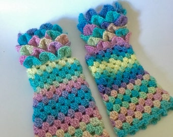 Fingerless gloves, wrist warmers, winter gloves, dragon scale gloves, mermaid gloves