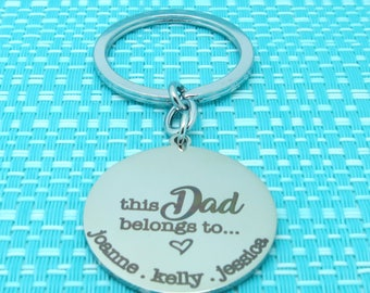Personalized Dad, This Dad Belongs To, Daddy Gift, Fathers Day Gift, Gifts For Him, Custom Keychain, Mens Personalized, Gifts for Dad