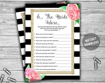 And The Bride Wore - Bridal Shower - Game - Cards - Printable - DIY - Instant Download - Pink - Floral - Gold - Black and White - L28