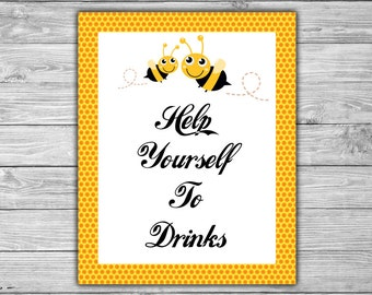 Bumble Bee - Baby Shower - Drinks - Sign - PRINTABLE - INSTANT DOWNLOAD - Help Yourself To Drinks - Baby Bee - 070