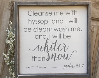Psalms 51:7, Whiter than Snow, Farmhouse, Winter Decor, Winter, Snow, Scripture, Framed, Wood Sign, Rustic, Distressed, Wooden Sign