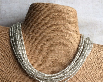 Silver beaded necklace, silver multi-strand necklace, silver bridesmaids, silver necklace, bridesmaids necklace, silver beaded necklace