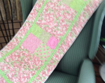 Long quilted table runner or bed runner - pinks and greens