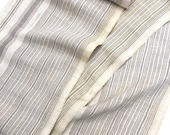 Chinese Hemp/Linen Fabric, Hmong Hill Tribe, Sophisticated Natural color with Gray Stripes