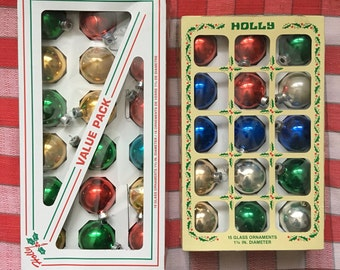 """set of 33 Holly glass ornaments 1 3/4"""""""