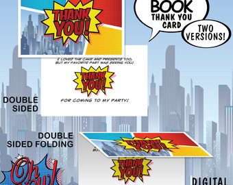 Super Hero Comic Theme 4x6 Thank You Card