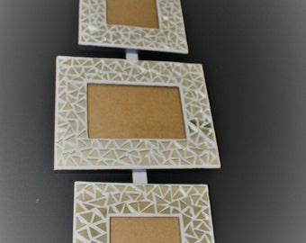 Photo frame peels mixes silver mirror mosaic