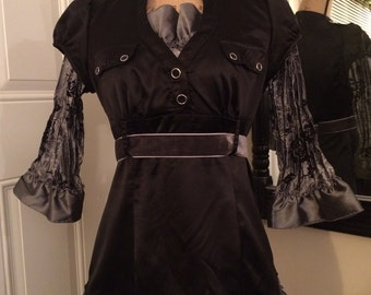 """Silver and Black Ruffled Blouse- """"Constance"""""""