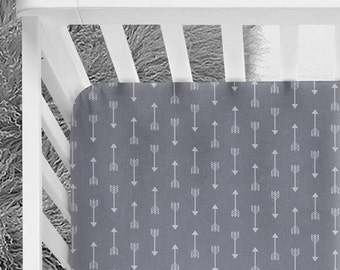 Gray and White arrows fitted crib sheet, Unisex crib sheet, gender neutral nursery, tribal nursery, tribal theme, adventurer theme, explorer