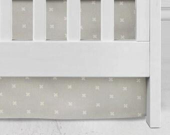 Grey Cross Crib Skirt, baby bedding, nursery, neutral nursery