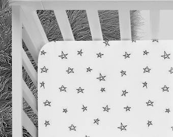 Black and White crib sheet, stars crib sheet, constellations, space, hand-drawn, Crib sheet, fitted crib sheet, monochrome, australia design