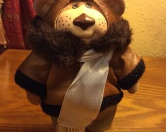 Vintage Furskins Aviator Plush Country Bear Toy