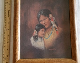 "native american indian woman and child signed art litho print 9"" x 11"" m caroselli 1970 - picture photo wall hanging squaw girl sioux dakota"