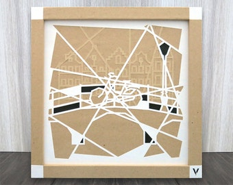 amsterdam, illustration, decoration, city, crafts, layers, wall, design, visual, cutting, gift, bicycle, canal, paper cut art, citytrip