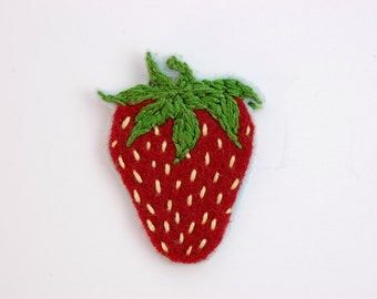Strawberry felt patch