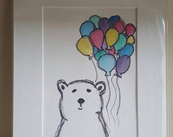 Happy Polar bear balloons illustration.