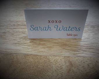 X O Place Cards, Wedding Place Card